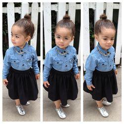 Baby Gap denim shirt, American Apparel skirt, Zara shoes, DIY necklace by Monica Rose