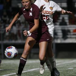 Judge Memorial and Morgan compete in the 3A high school soccer semifinals at Juan Diego High School in Draper on Wednesday, Oct. 21, 2020.
