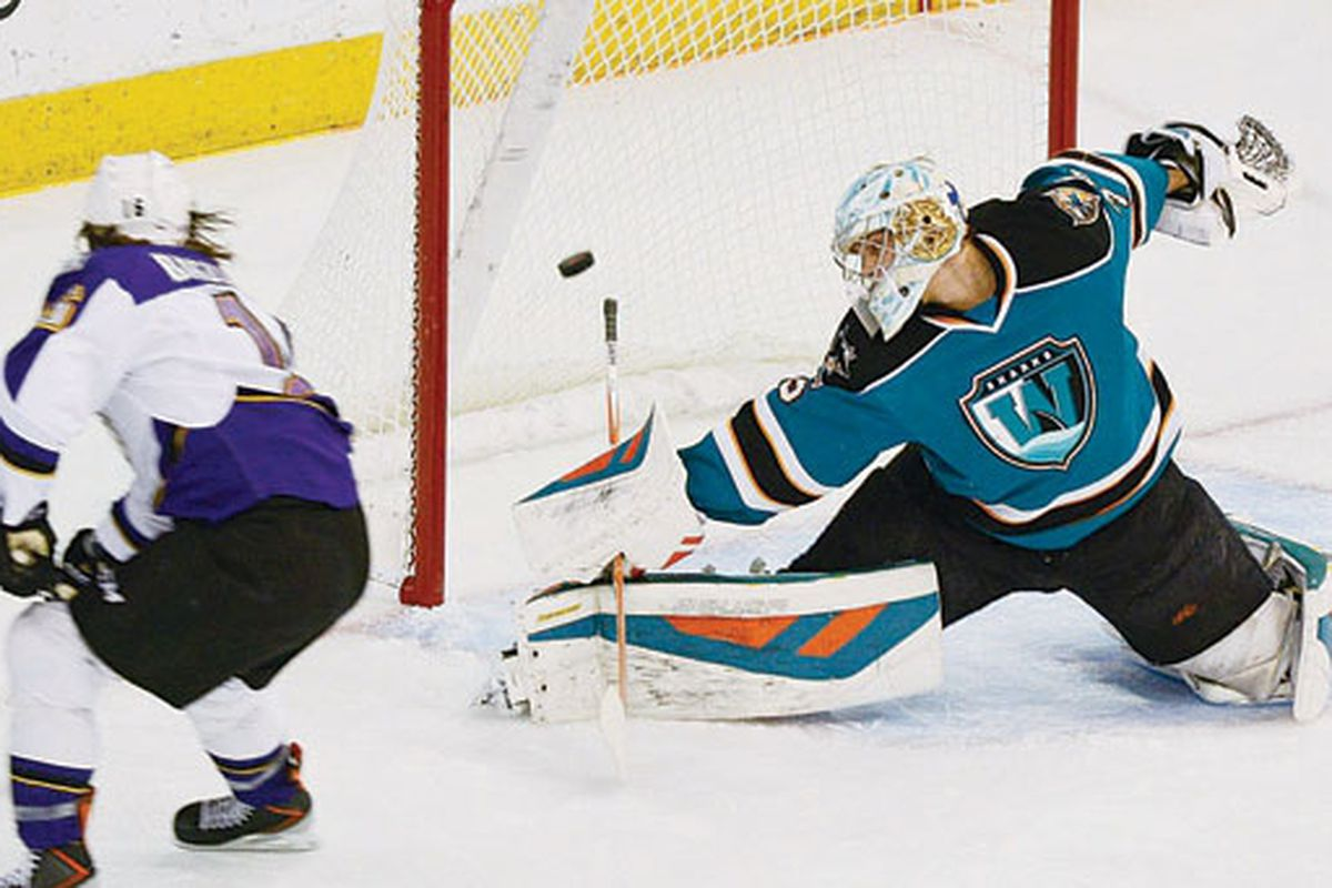 Worcester Sharks goaltender Harri Sateri is beaten on a backhanded shot by Manchester Monarchs forward Sean Backman during the first period at the Verizon Wireless Arena Friday night.