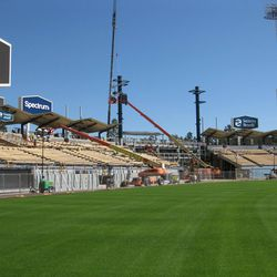 Construction in and around the pavilion at Dodger Stadium, March 3, 2020