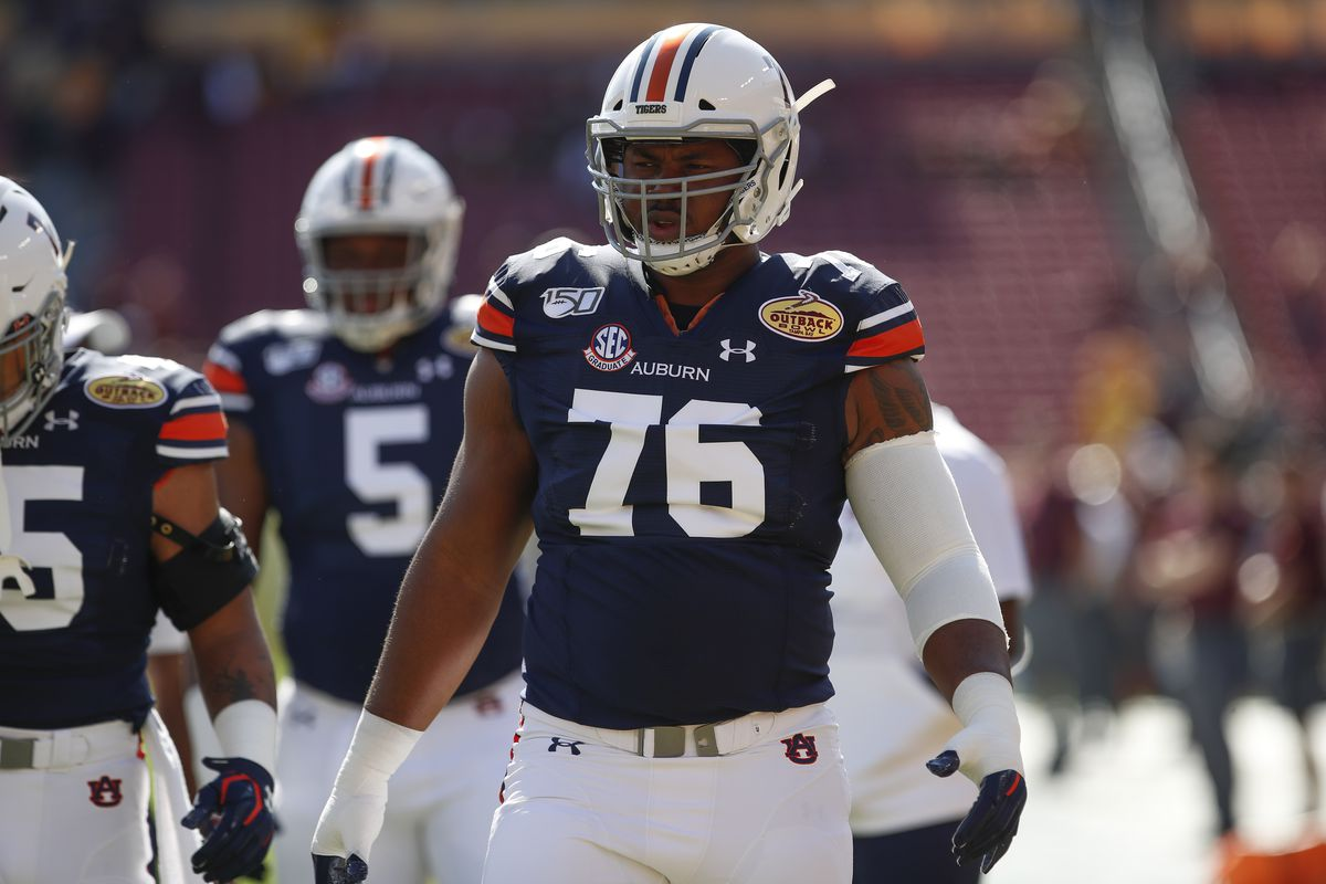 Auburn Tigers offensive lineman Prince Tega Wanogho during the Outback Bowl between the Auburn Tigers and Minnesota Golden Gophers on January 01, 2020 at Raymond James Stadium in Tampa, FL.