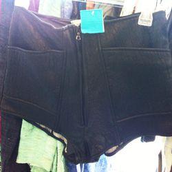 Leather hot shorts, $65