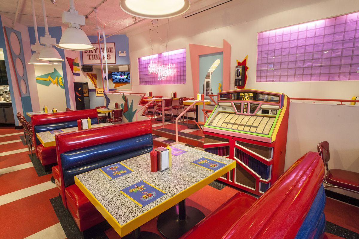 """A colorful retro diner styled after Saved by the Bell diner """"the Max."""""""