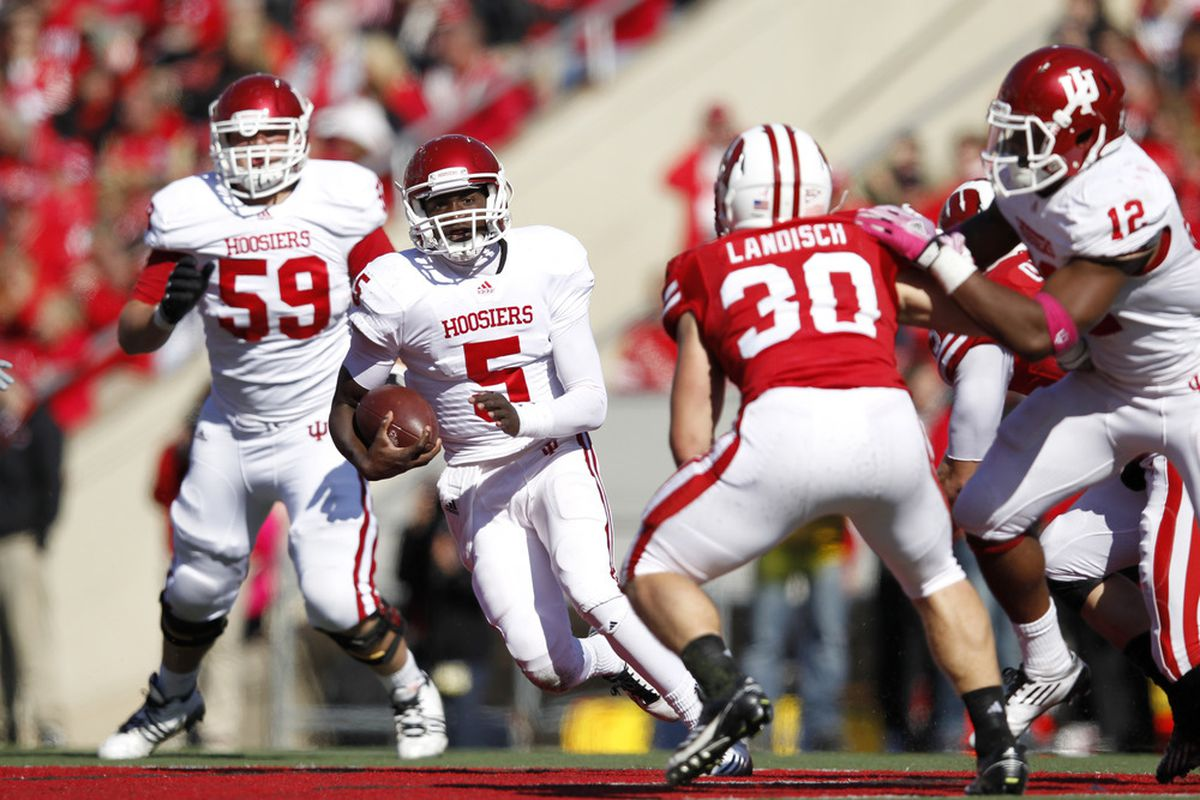MADISON, WI - OCTOBER 15: Tre Roberson #5 of the Indiana Hoosiers runs with the ball against the Wisconsin Badgers at Camp Randall Stadium on October 15, 2011 in Madison, Wisconsin. The Badgers won 59-7. (Photo by Joe Robbins/Getty Images)