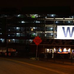 Wednesday evening: The W flag on the plaza building
