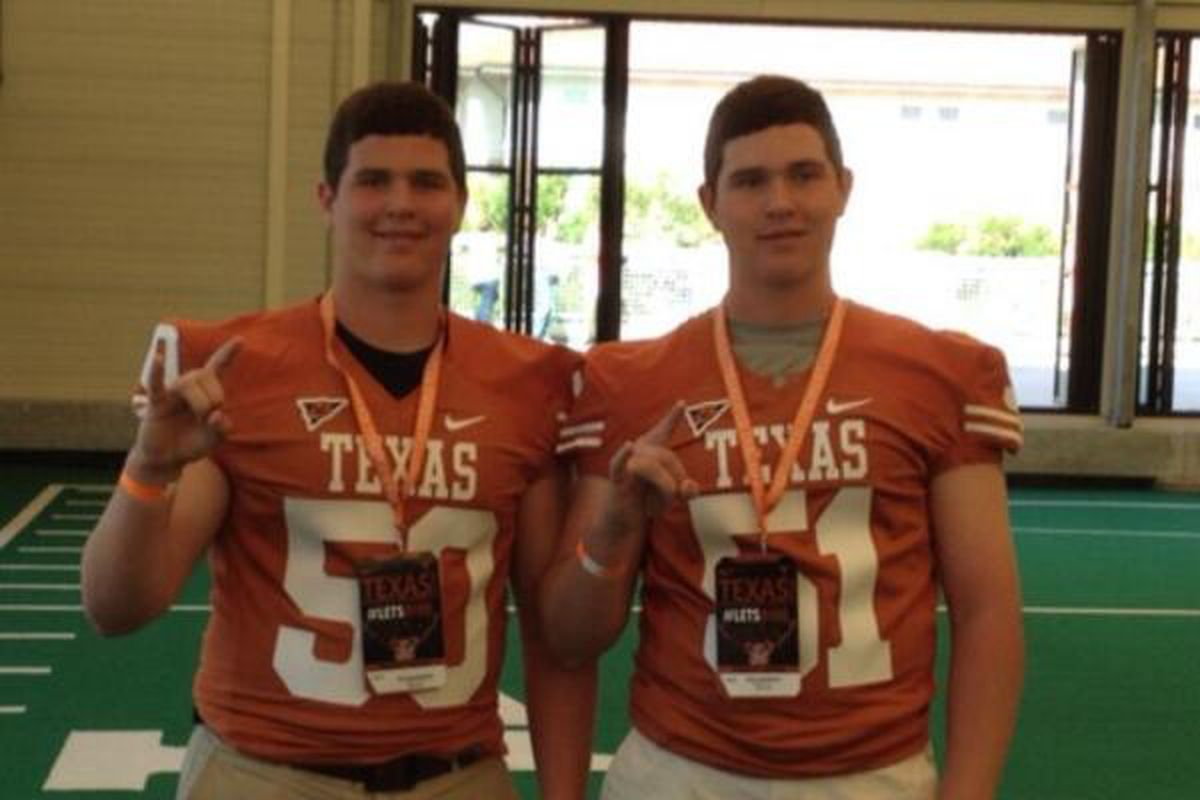 Austin (left) and Riley Anderson at Texas in 2014