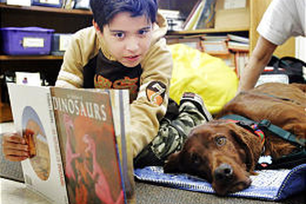 Fifth-grader Fernando Arellano reads a book to Ross in Gaithersburg, Md. Students who struggle with reading get sessions with Ross.