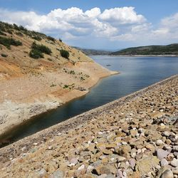 Sailors enjoy the water near Jordanelle Dam on Friday, July 16, 2021.  The water level is low due to drought.