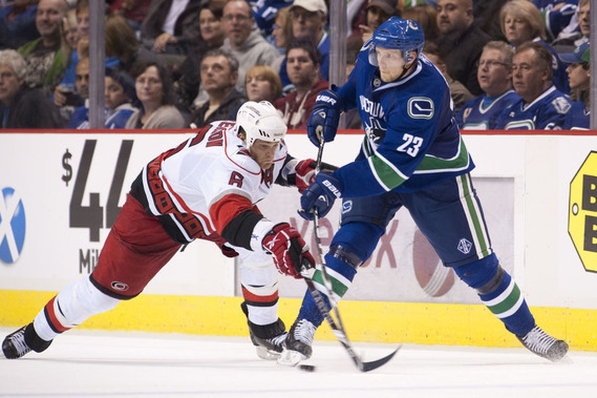 Alex Edler visits the PNC Arena for the first time since injuring Eric Staal