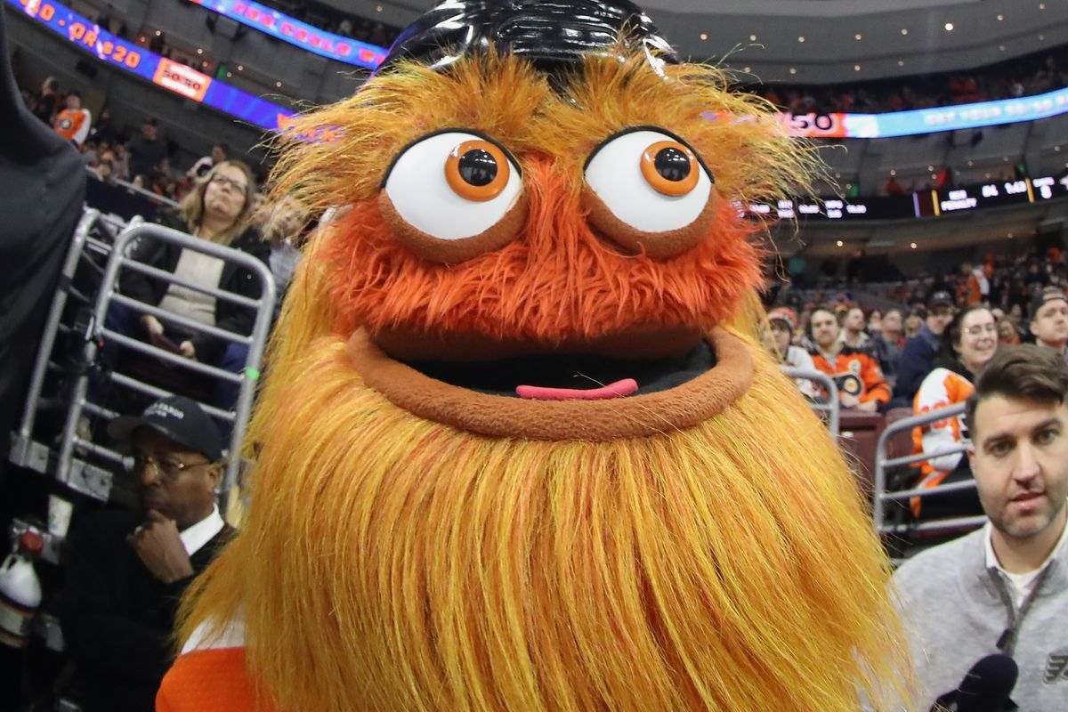 PHILADELPHIA, PENNSYLVANIA - DECEMBER 20: The Philadelphia Flyers mascot Gritty watches the first period against the Nashville Predators at the Wells Fargo Center on December 20, 2018 in Philadelphia, Pennsylvania.
