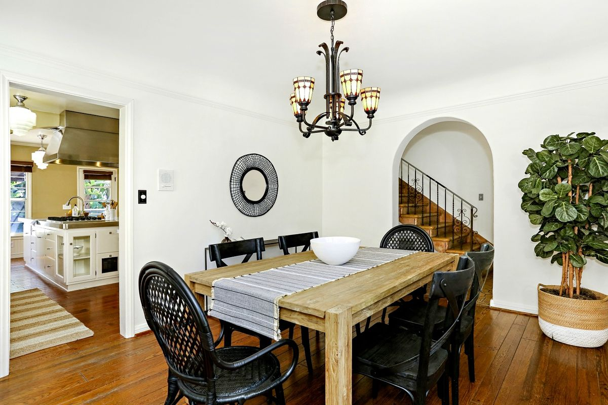 Dining room with arched entryway