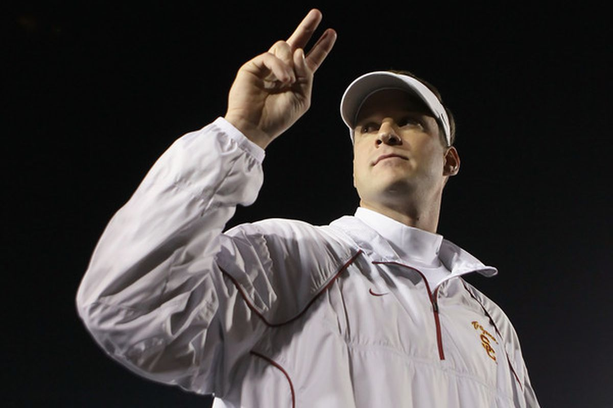 Southern California football coach Lane Kiffin talks about the Trojans' new signings, during a news conference in Los Angeles on Wednesday, Feb. 2, 2011.  (AP Photo/Reed Saxon)