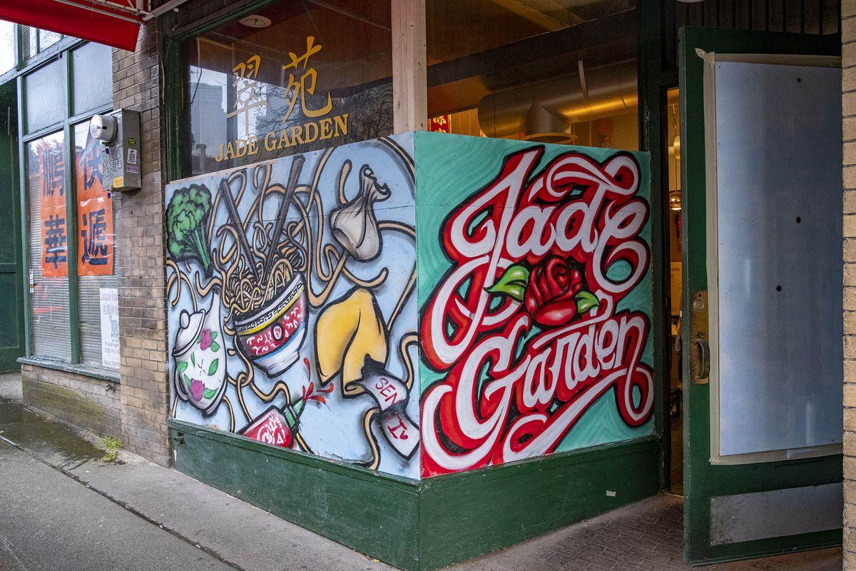Mural art outside Jade Garden, including a bowl of noodles.