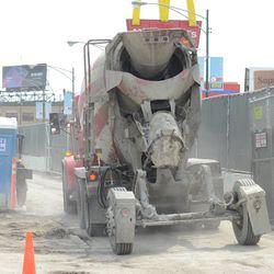 Concrete truck on Clark -