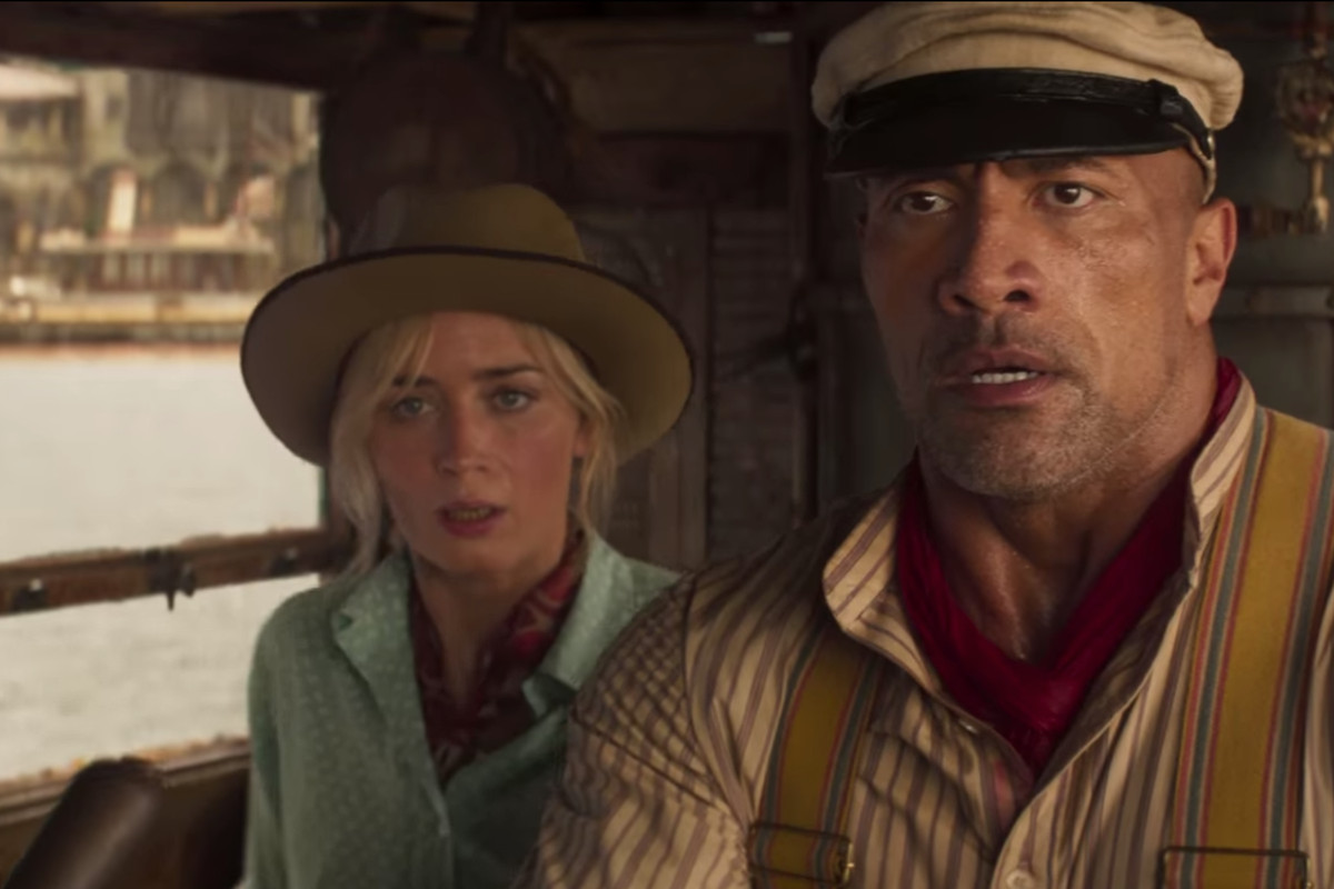 """Emily Blunt as """"Lily Houghton"""" and Dwayne Johnson as """"Frank"""" in Disney's """"Jungle Cruise."""""""