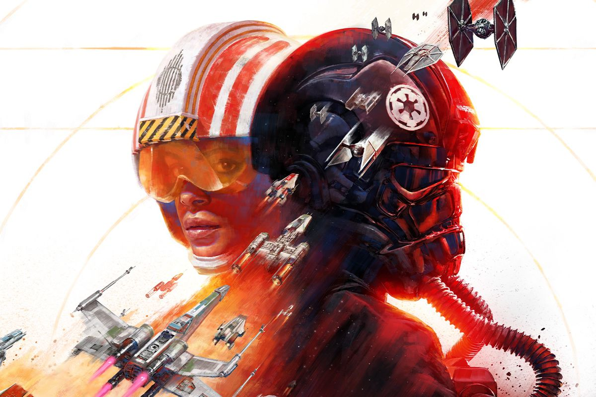 artwork of a Rebel pilot and an Imperial pilot, with a variety of starfighters, from Star Wars: Squadrons