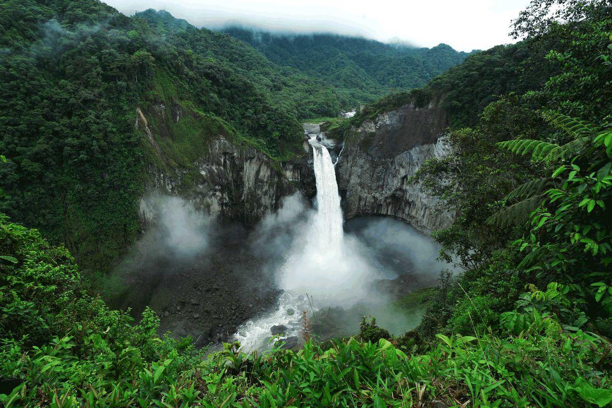 A waterfall in Ecuador.
