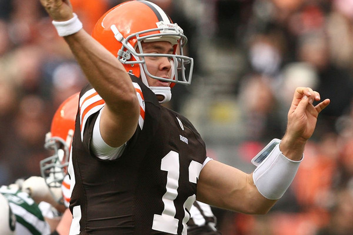 CLEVELAND - NOVEMBER 14:  Quarterback Colt McCoy #12 of the Cleveland Browns throws to a receiver against the New York Jets at Cleveland Browns Stadium on November 14 2010 in Cleveland Ohio.  (Photo by Matt Sullivan/Getty Images)