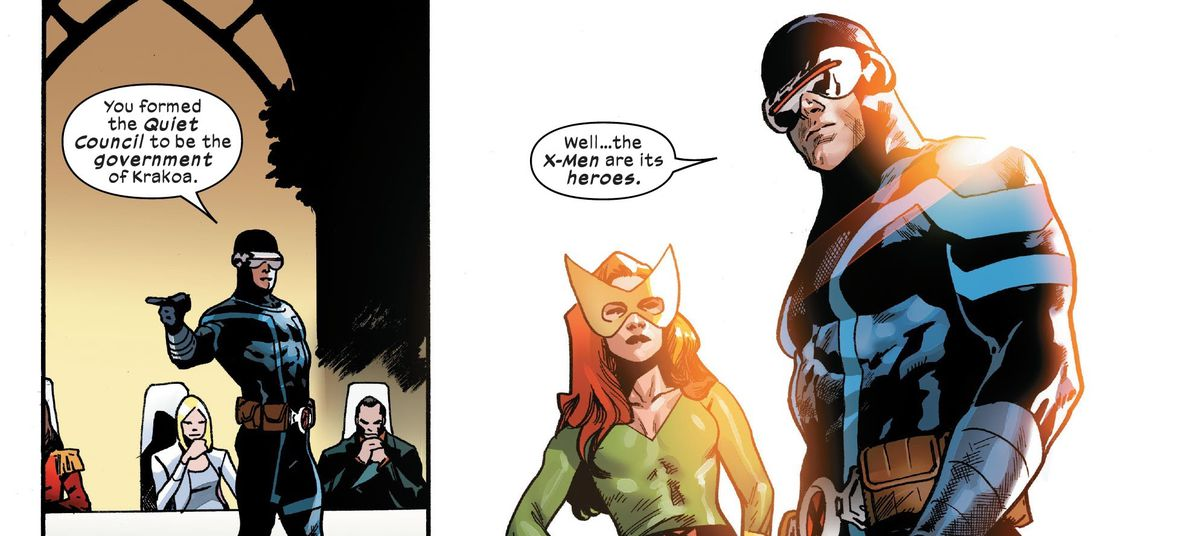 """""""You formed the Quiet Council to be the government of Krakoa,"""" Cyclops tells the Quiet Council. """"Well... the X-Men are its heroes,"""" in X-Men #15, Marvel Comics (2020)."""
