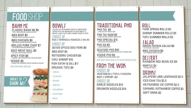 food shop menu