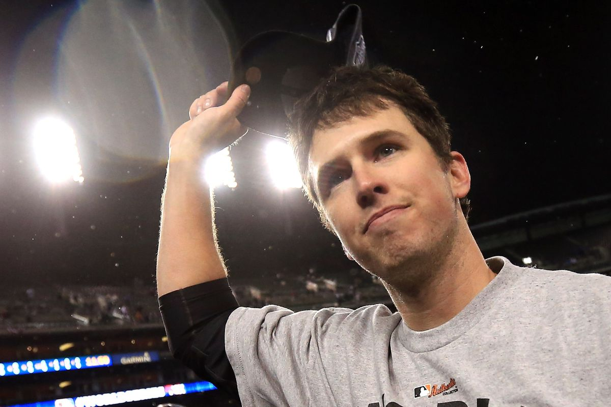 """I had to crop out the shirt, but it says """"World Series Champions."""" It's from that time Buster Posey won the World Series. Oh, sorry, not that time, the other time Buster Posey won the World Series."""