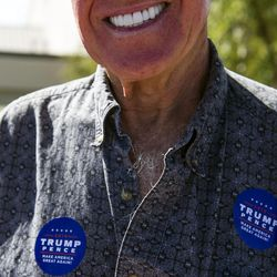 Doctor David Barnes campaigns in support of presidential candidate Donald Trump at a rally before the Utah and BYU rivalry game in Salt Lake City on Saturday, Sept. 10, 2016.