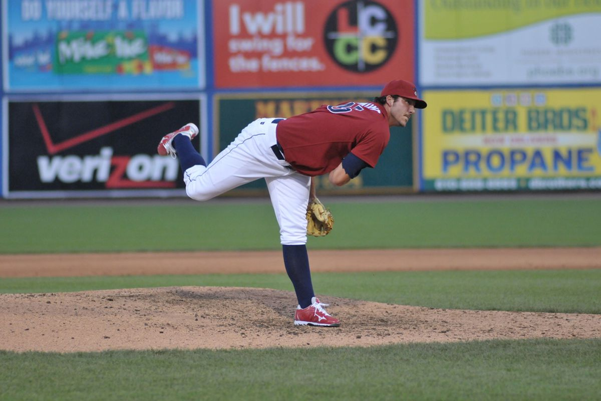 Philadelphia Phillies pitching prospect Phillippe Aumont (Photo by Frank Mitman, courtesy of Lehigh Valley Iron Pigs)
