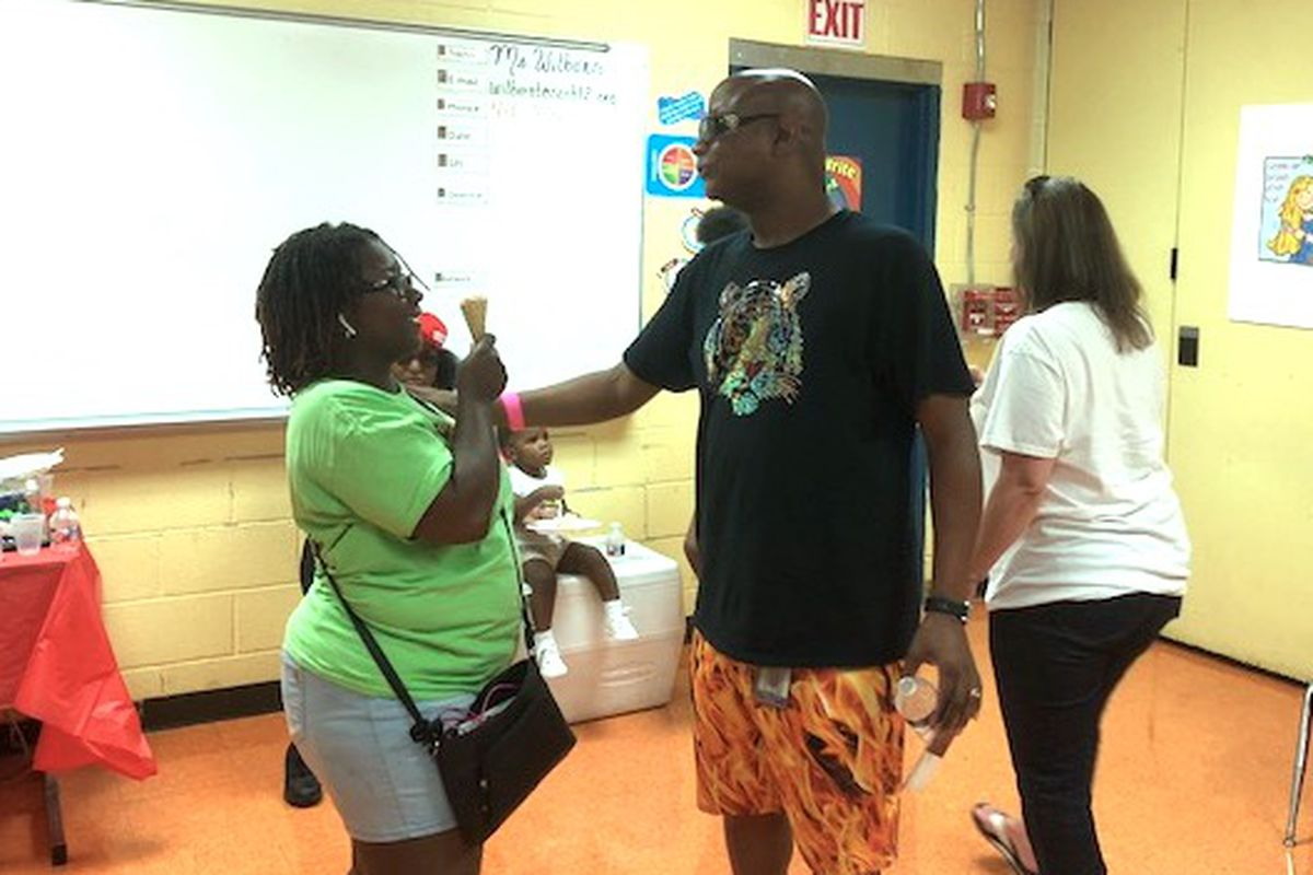 Vincent Hunter at a block party at Havenview Middle School in July 2018.