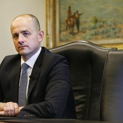 Evan McMullin, who's running an independent bid for president, talks with the Deseret News and KSL editorial board in Salt Lake City on Wednesday, Aug. 10, 2016.