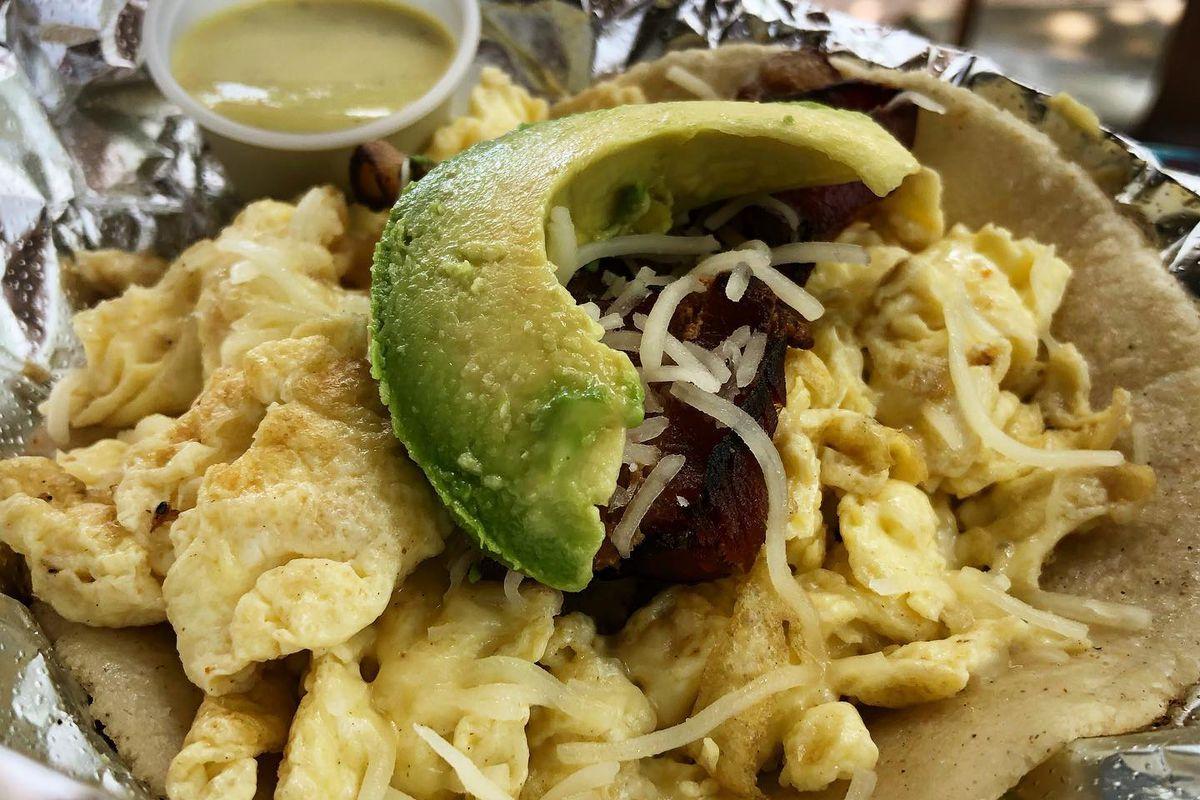 Bacon, egg, cheese, and avocado breakfast taco from Veracruz