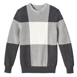 Crew Neck Sweater in Grey Plaid, $34.99