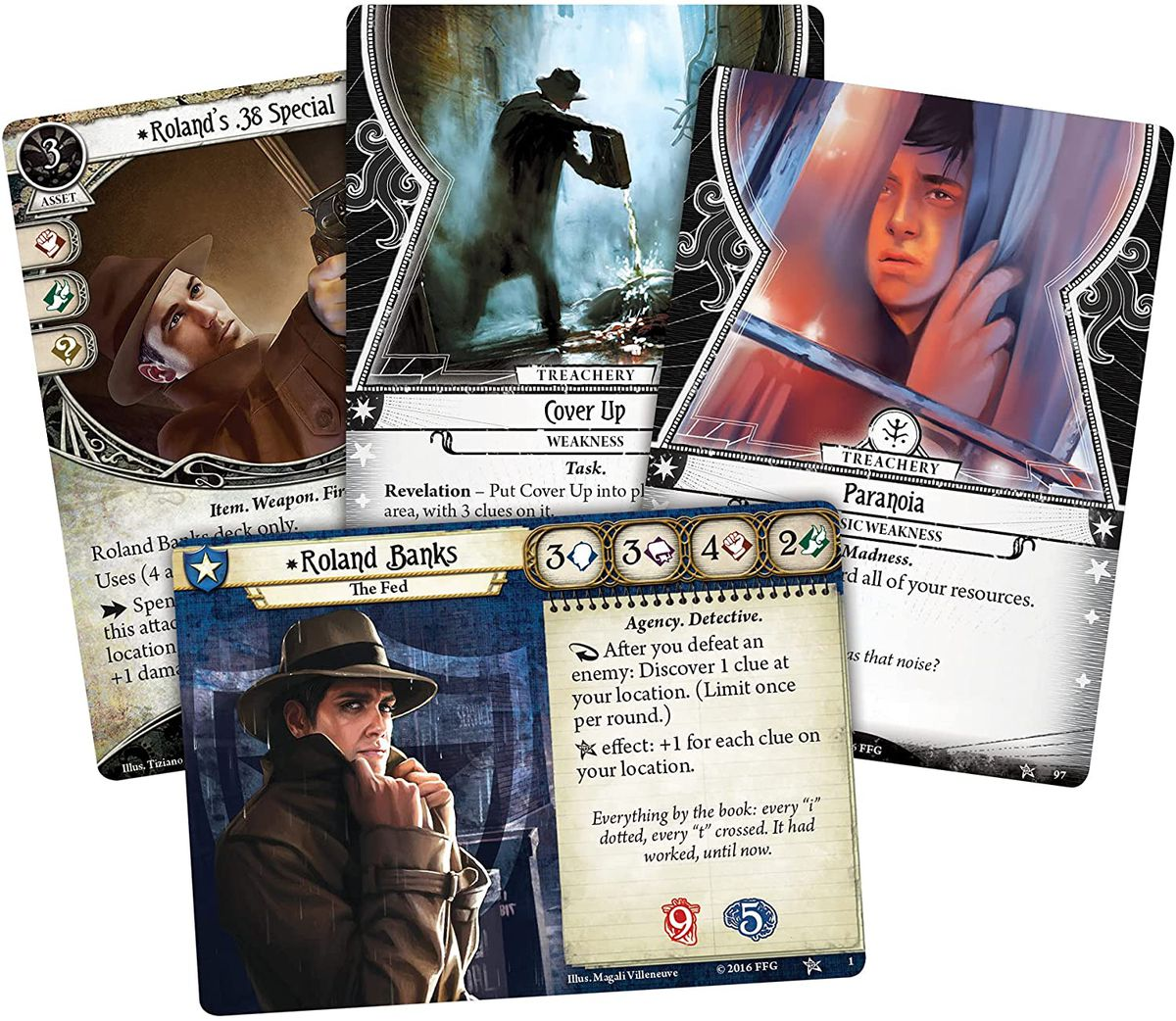 """Sample cards from Arkham Horror: The Card Game, including Roland """"The Fed"""" Banks."""