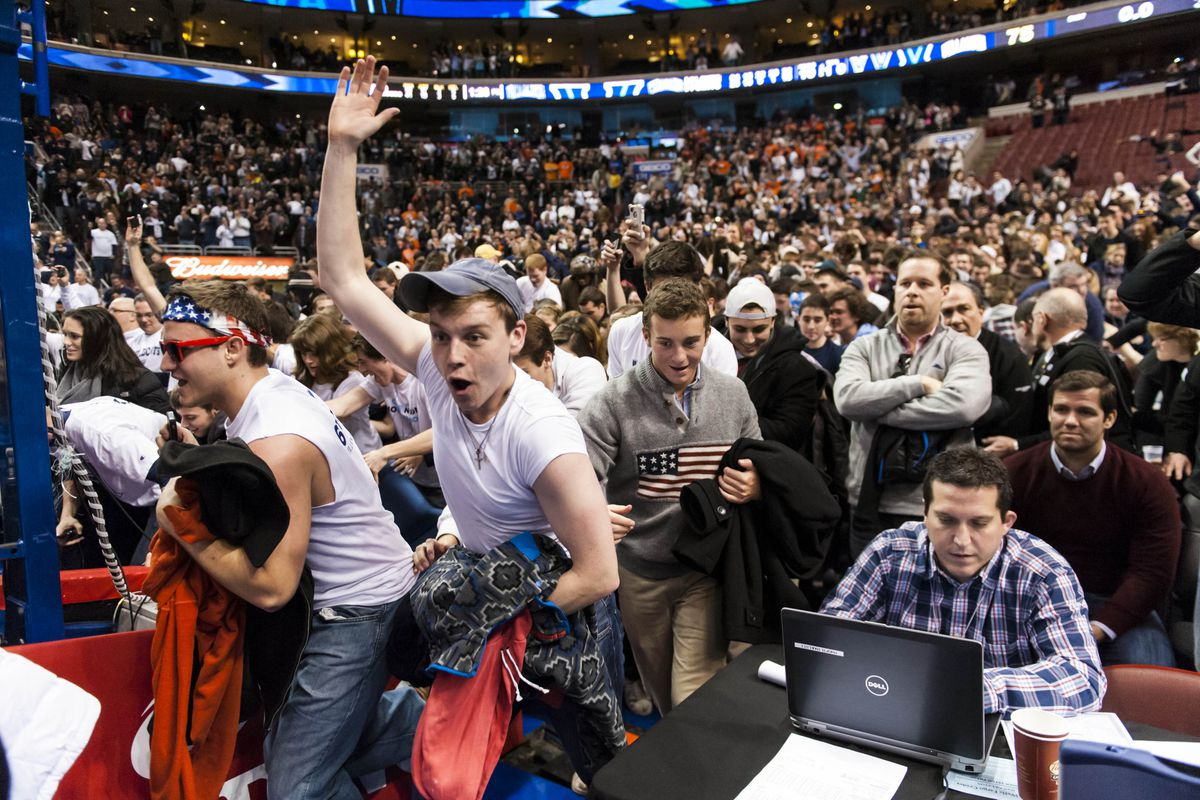 Villanova's getting pretty good at this court storming thing.