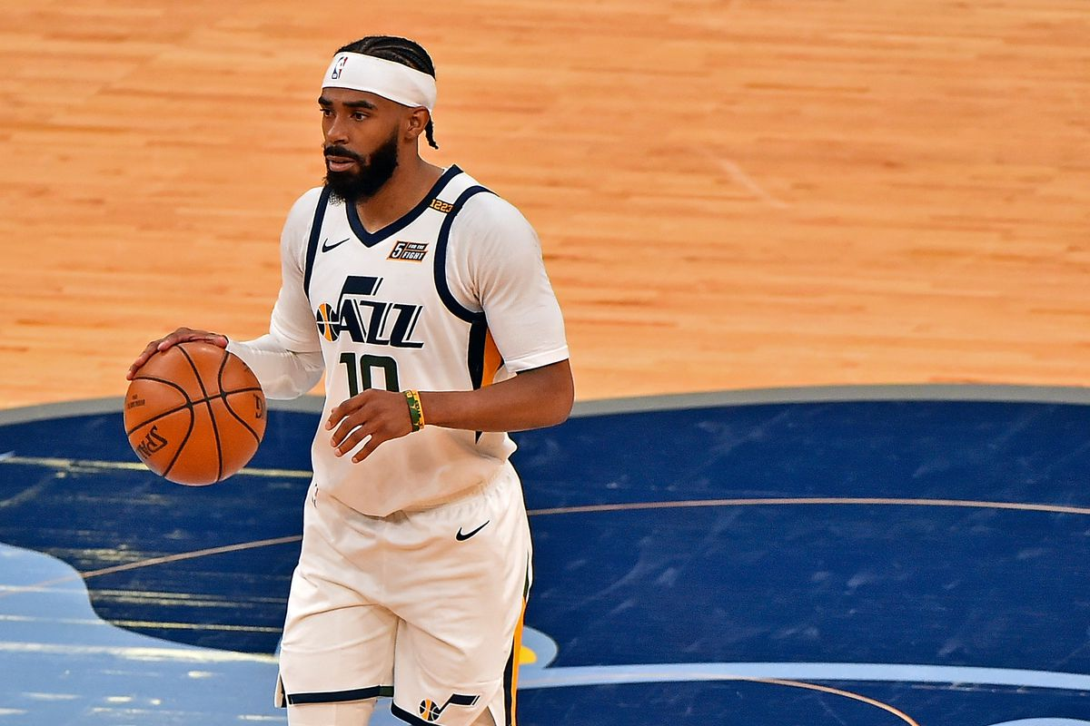 Mike Conley of the Utah Jazz brings the ball up court against the Memphis Grizzlies during Game Four of the Western Conference first round series on May 31, 2021 at FedExForum in Memphis, Tennessee.