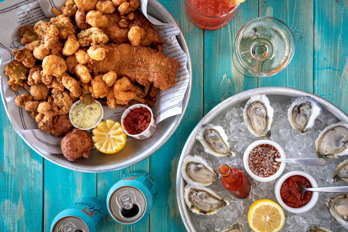 A Calabash seafood platter and shucked oysters