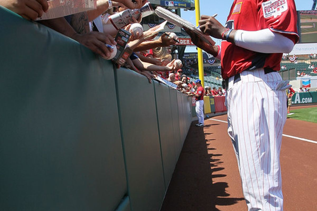 Could Domonic Brown soon be signing autographs in Citizens Bank Park?  (Photo by Stephen Dunn/Getty Images)