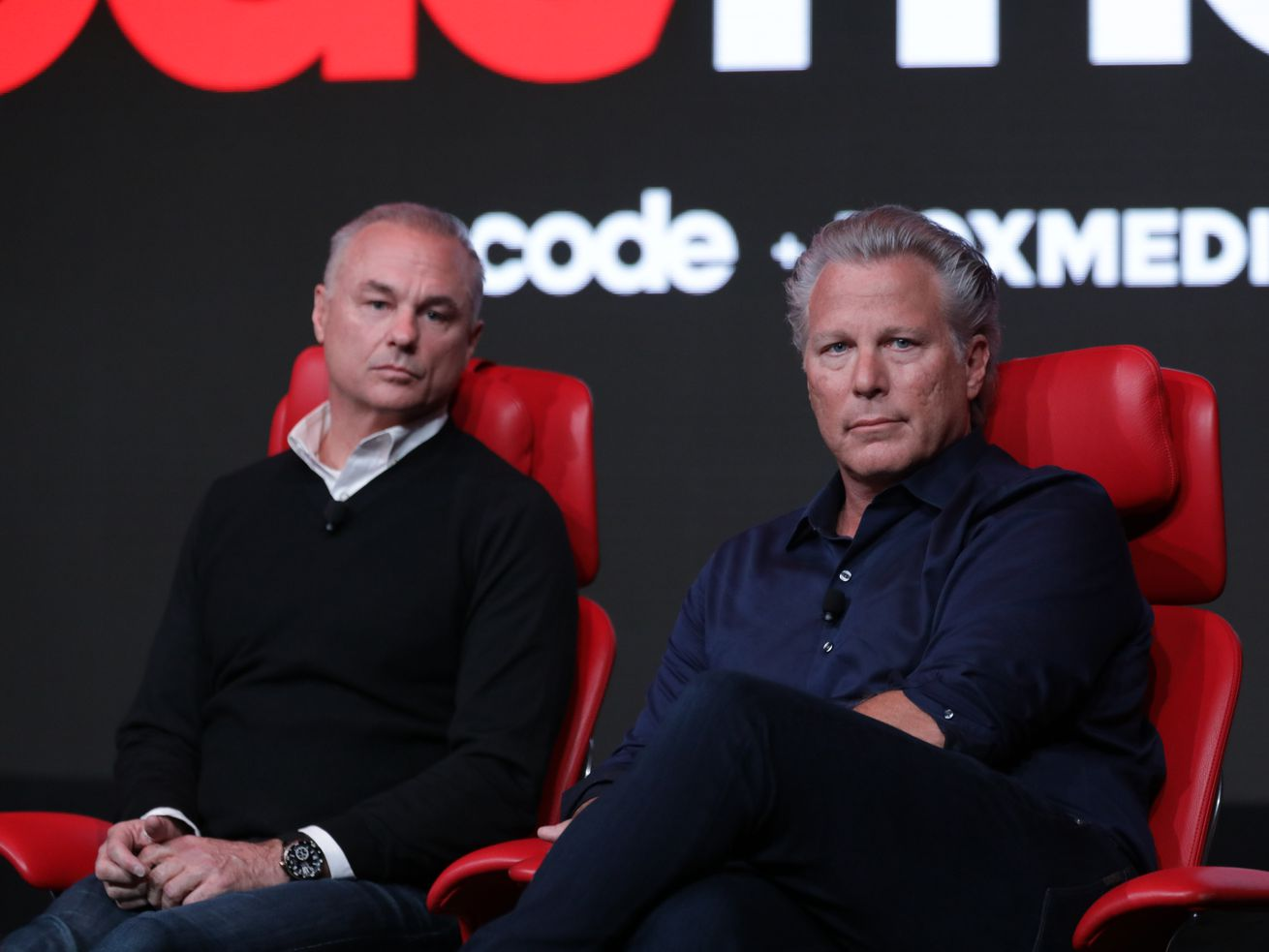Maven Media founder and CEO James Heckman and Sports Illustrated CEO Ross Levinsohn onstage at Code Media 2019.