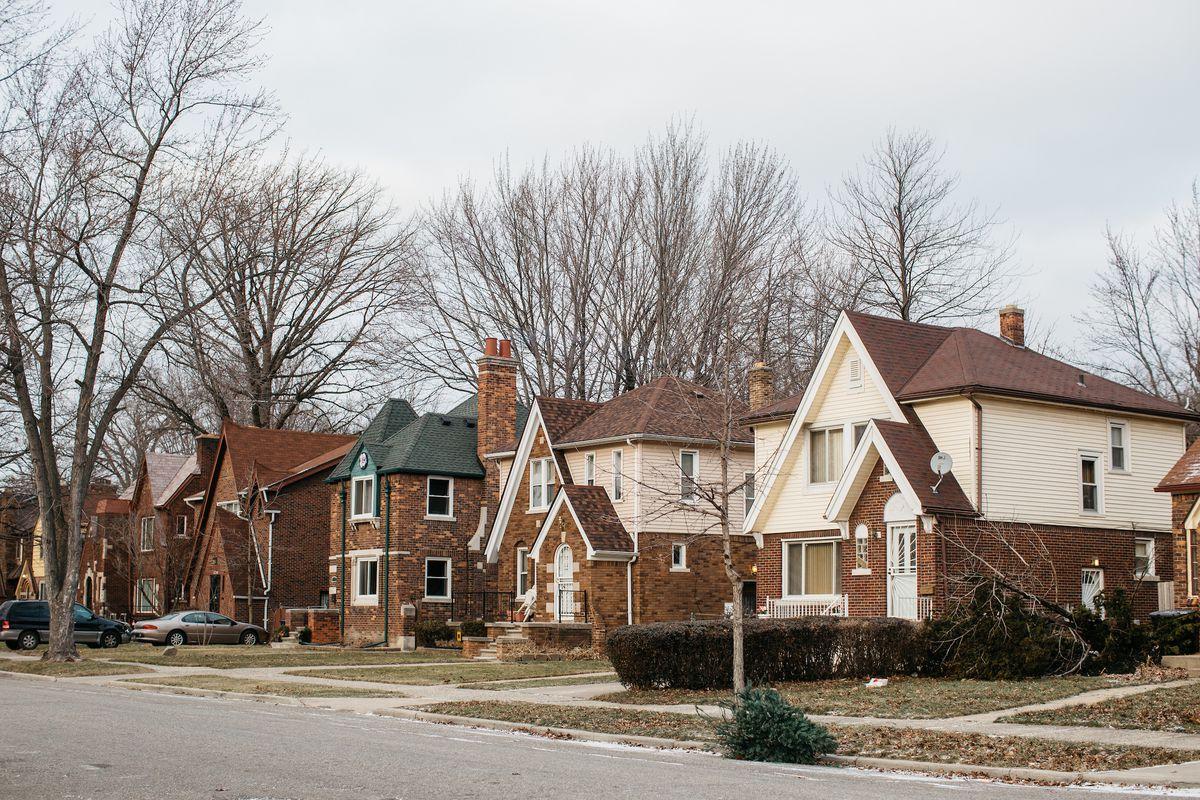 A dense residential street on Detroit's east side.