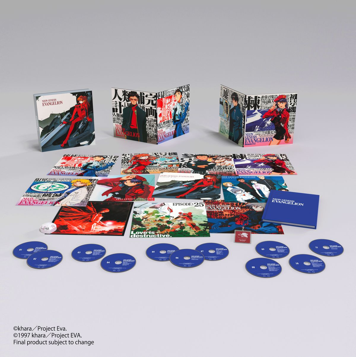 A render of the Neon Genesis Evangelion Ultimate Edition contents, including 11 Blu-ray discs