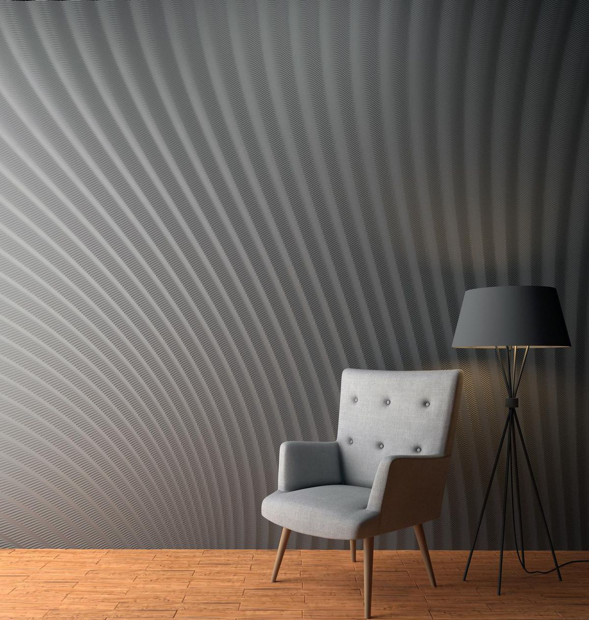 Chair and lamp in front of optical illusion wall