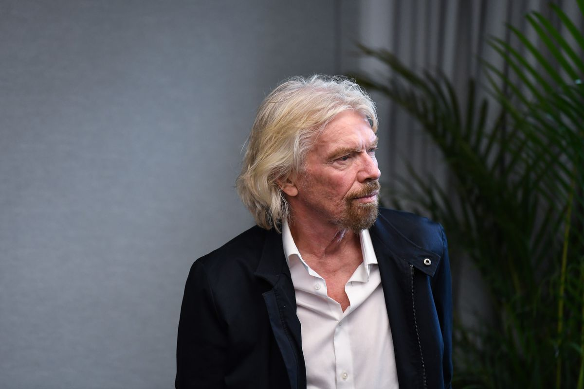 Sir Richard Branson waits to address an audience during the launch of The B Team Australasia on October 11, 2018 in Sydney, Australia.