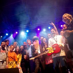 All the chefs, plus Billy Gibbons, at Rock Your Taco on Saturday night. // photo by Patrick Michels
