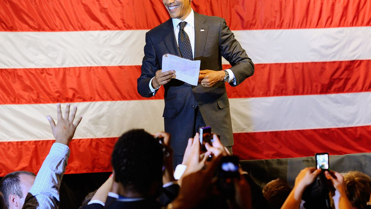 President Barack Obama greets supporters after his speech during a fundraiser for his re-election campaign at the House of Blues on the Sunset Strip on September 26, 2011 in West Hollywood, California.