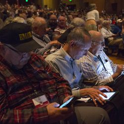 Delegates place their votes at the GOP 3rd District convention at Timpview High School Provo on Saturda7, June 17, 2017.