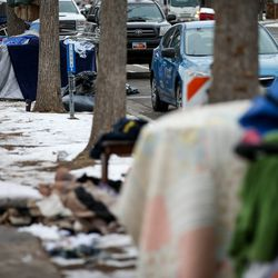 Homeless camps are pictured on 300 East at Library Square in Salt Lake City on Wednesday, Nov. 27, 2019.