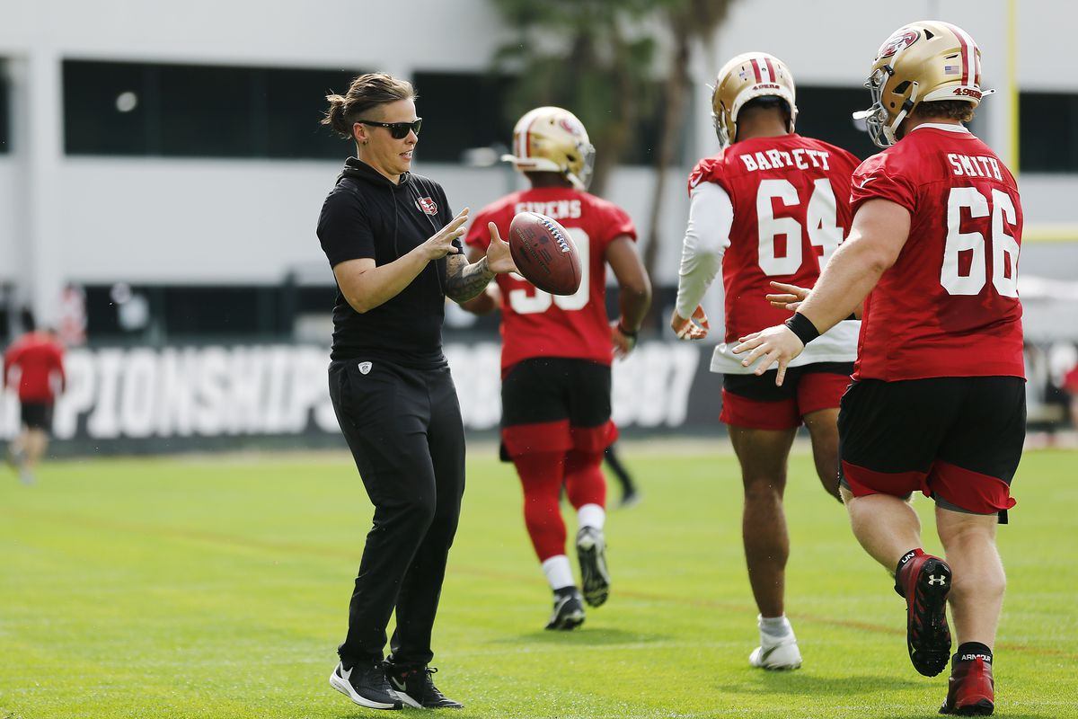 Katie Sowers at a San Francisco 49ers Super Bowl practice.