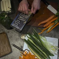 In the early afternoon, vegan chef Molly Aubuchon preps the ingredients for her vegan sushi that she was making with her children for dinner Monday, Feb. 8, 2016, in her Kent, Ohio, home.