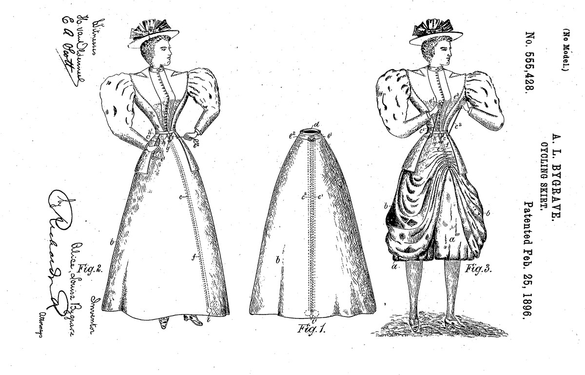 From the 1896 US patent application filed by Alice Bygrave for her convertible cycling skirt