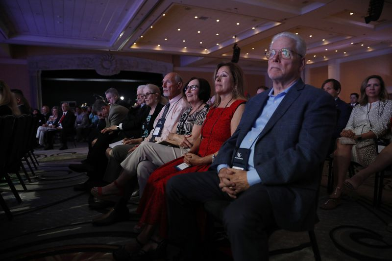 A crowd listens to Sen. Ron Johnson, R-Wis., during the Faith and Freedom Coalition's Road to Majority Conference held at the Gaylord Palms Resort & Convention Center in Kissimmee, Fla., on Friday, June 18, 2021.