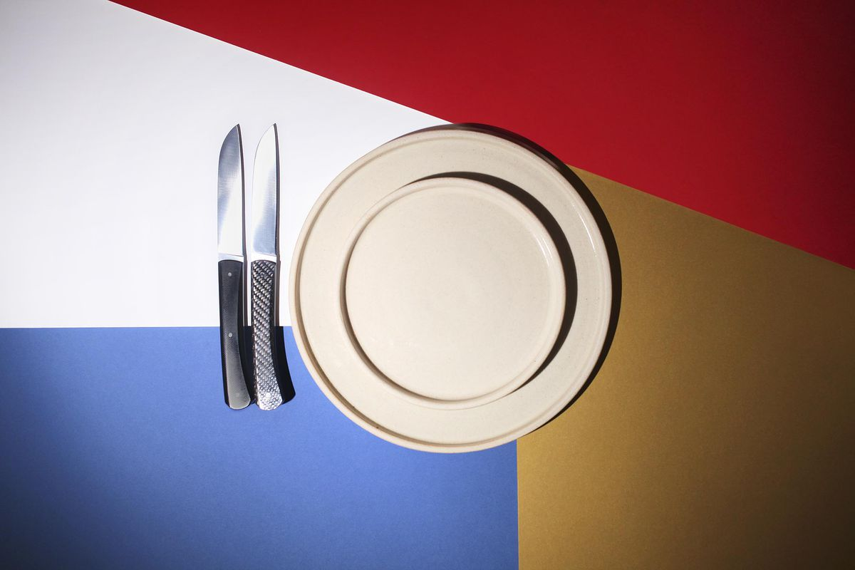 London restaurant Christmas gifts: Knives by Roland Lanier and plates by Skye Corewijn of Lazy Eye Ceramics
